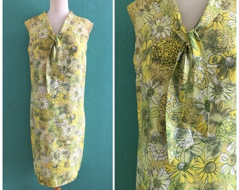 60's yellow floral shift dress ~ small medium