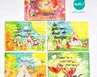 NEW 5 unique mixed media Postcards