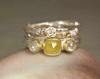 Cushion Cut Yellow Diamond Wedding Set, Three Stone Diamond 18K Gold Ring Engagement Ring, Sterling Silver Twig Ring