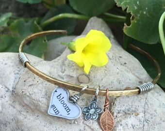 Easter whimsical spring jewelry bangle bracelet gardening lover jewelry one of a kind handmade flower bloom leaf jewelry wire wrapped heart