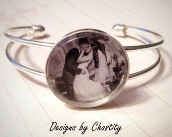 Custom Photo Charm Cuff Bracelet - Personalized with Round photo image - photograph - childs art Customiized Just For You