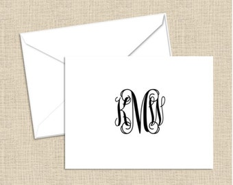 Personalized initial note cards with envelopes - set of 10
