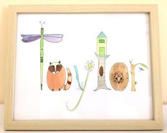 Personalized Nursery Print, Custom Name Art, Animals Print, Woodlands Theme, teepee, fox, deer, dragonfly, hedgehog, owl, 8x10 or 8 1/2 x 11