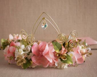 Fairy Tale floral crown Halo M2M made to match Well Dressed Wolf Princess Monaco dress Flowers with Swarovski Accents