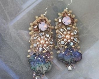 RESERVED-  Courtier earrings- bold lightweight romantic bohemian earrings, hand beaded