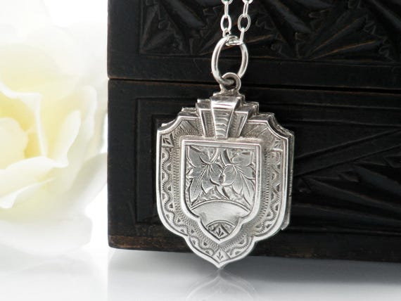 Antique Locket | Sterling Silver | Large Victorian Locket | Layered Sterling Silver Photo Locket | Shield Locket - 24 Inch Sterling Chain