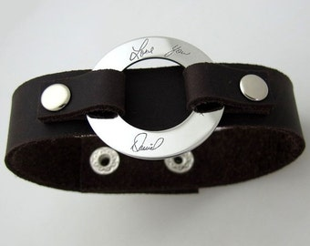 Custom Mens Leather Bracelet Personalized Mens By