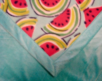 Baby Blanket, Blanket, Baby, Fleece, Baby Gift, Shower Gift, Stroller Car Seat Blanket, Lap Blanket, Soft Lovey, Watermelon and Aqua Minky
