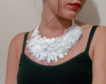 Lace bib necklace, white fabric flower necklace, Boho Necklace flower pearl bib rosette  necklace