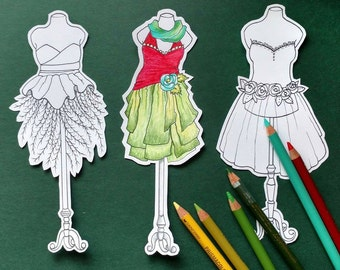 Printable ColorMe Dressform Bookmark Set, Downloadable Dresses