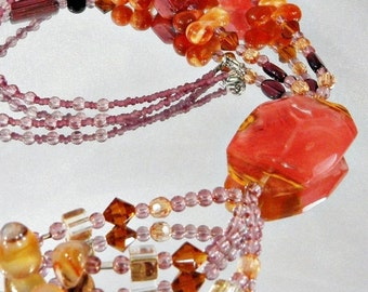 CHRISTMAS SALE Vintage Agate Necklace Lavaliere Glass Bead Natural Stone Gold Orange Brown Purple
