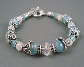 Aquamarine and Moonstone Bracelet, Aquamarine, Rainbow Moonstone and Sterling Silver Beads Bracelet, Size 7.5