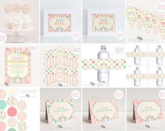 DIGITAL Pink Circus Party Kit, Editable Text, Invitation, Banner, Garland, Table Signs, Cupcake Toppers & Wrappers, Drink Labels,PDF Files