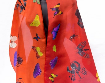 Custom Made Scarves Butterflys Orange Persimmon Scarf Silk From Your Digital File long narrow scarves large wraps  Made in the USA