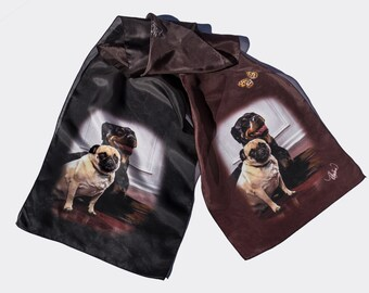 Pug and Rottweiler Scarf Silk Your print ready layout. Long Narrow Silk Fabric Printing Digital Custom Made Complimentary shipping