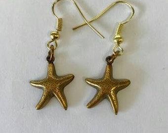 Starfish Earrings, Beach Earrings, Gold Earrings