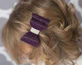 Purple hair bow, Purple glitter hair bow, girl hair accessories, baby bow, wedding hair bow, toddler bow, girl hair clip, plum hair bow,