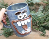 BLACK FRIDAY SALE Merry Christmas Coffee Mug. Happy Holiday Hot Chocolate Cup. Blue. Extra Large 24 Oz Unique Smiley Face Big Beer Tankard.