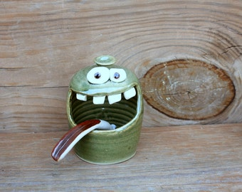 Salt Cellar. Ceramic Stoneware Pottery Salt Keeper. Kitchen Countertop. Blue Functional Pottery. Dipper Spoon Included. Funny Smiley Face.