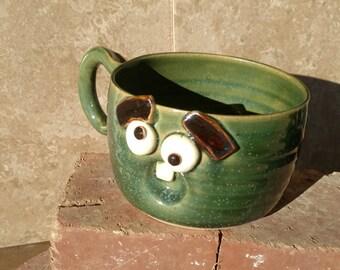 Whimsical Soup Mug. Bewildered Funny Face Cappucino Cup. Green. Hot Tea Soup Mug. Large 16 Ounce  Ug Chug. Microwave and Dishwasher Safe.