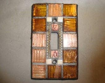 MOSAIC Light Switch Plate -  Single Switch, Wall Art, Wall Plate, Bronze, Gold, Silver, Copper, Iridescent White