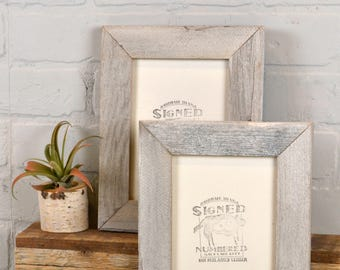 "5x7 inch Picture Frame in 1.5"" Wide Rustic White Wash Reclaimed Cedar Fence Wood - IN STOCK - Same Day Shipping - 5 x 7 Photo Frame"