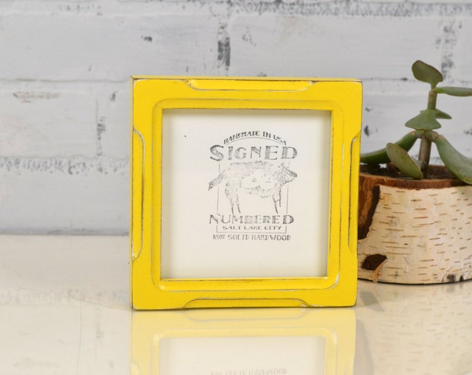 5x5 Square Photo Frame in Deep Bones Style with Vintage Yellow Finish - IN STOCK - Same Day Shipping - 5 x 5 Sale Frames