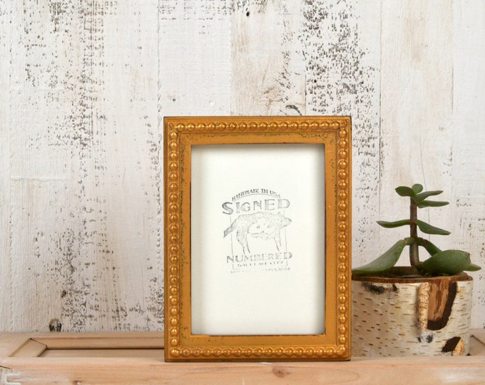 """5x7"""" Picture Frame in 1x1 Decorative Bumpy Style with Vintage Old Gold Finish - IN STOCK - Same Day Shipping - Handmade 5 x 7 Frame"""