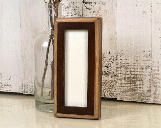 """Photo Booth Frame for 2 x 6"""" Picture Strip in 1x1 2-Tone Style with Vintage Dark Wood Tone Finish - In Stock - Same Day Shipping - 2x6 Size"""