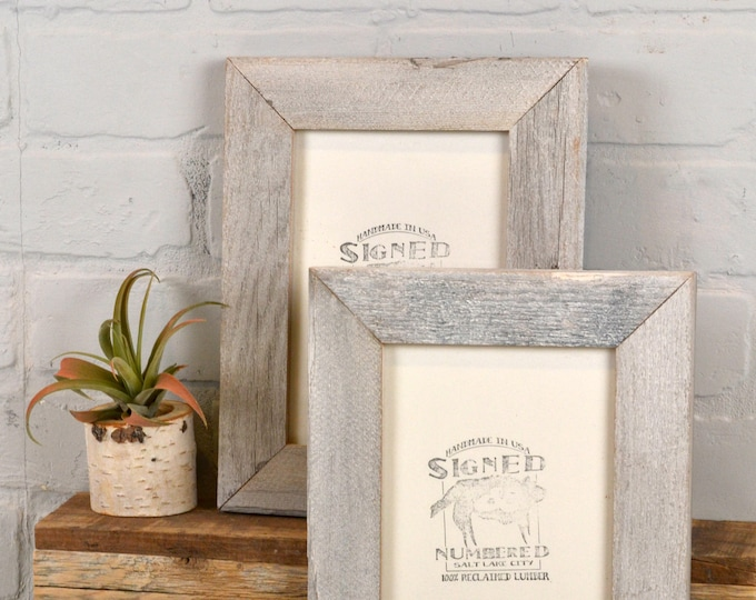 """5x7 inch Picture Frame in 1.5"""" Wide Rustic White Wash Reclaimed Cedar Fence Wood - IN STOCK - Same Day Shipping - 5 x 7 Photo Frame"""