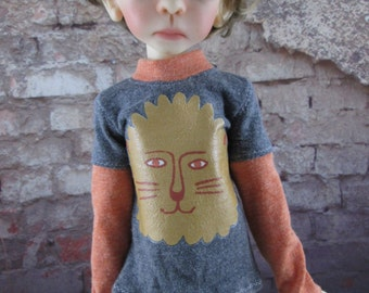 Orange and Grey  Lion Long Sleeve Shirt for Maurice, Layla, Talyssa by Kaye Wiggs and other MSD BJD
