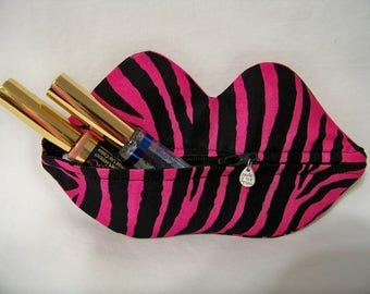 Zippy Lips in Pink Zebra - Makeup Pouch - Coin Purse - Lipstick Pouch - Ready To Ship