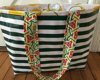 Yipes stripes funky oilcloth tote bag in dark green and white