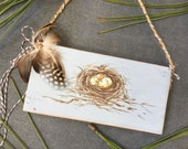 Hand Painted Bird Nest with Speckled Eggs Ornament Farmhouse, Woodland, Cottage