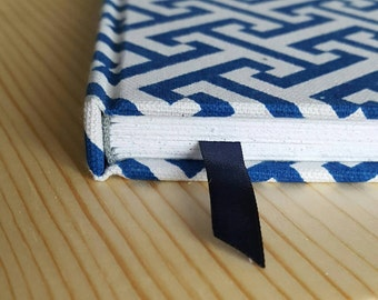 Dot Grid Bullet Journal, Greek Key Travel Journal, Blank or Lined Diary, Gratitude Journal, Blue Journal, Address Book, Cloth Covered Diary