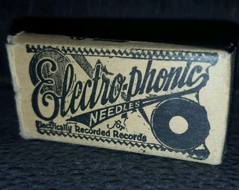 Vintage ELECTRO-PHONIC Loud Tone VICTROLA Record Grafonola Needle Box & Needles
