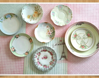 Shabby Chic China Plate Wall Decor Floral China Tea party Hand painted Bavarian Plates