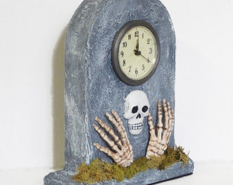 Gothic Clock - Gothic Home Decor - Dark Decor - Gravestone Clock - Tombstone - Upcycled Clock