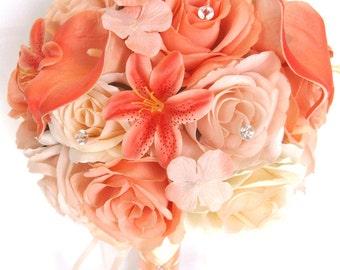 "Wedding Bouquets Bridal Silk flowers 17 Piece Package Bridal Party Bouquets CORAL Calla LILY PEACH Wedding decoration Bride ""RosesandDreams"""
