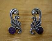 Silver Mexican Earrings Amethyst