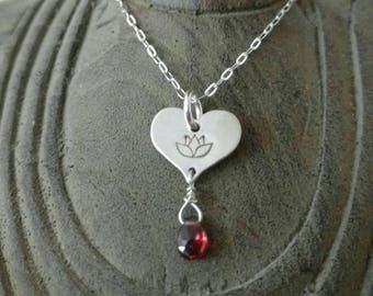 LOTUS LOVE Charm with Garnet, Lotus Flower Jewelry, Tiny Heart Necklace with Lotus in Sterling Silver, Yoga Inspired Jewelry  (#050)