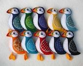 Puffin magnet, Bird magnet, Colourful felt puffin magnet, Handmade felt puffin, Felt bird ornament, Irish Christmas gift, Stocking stuffer