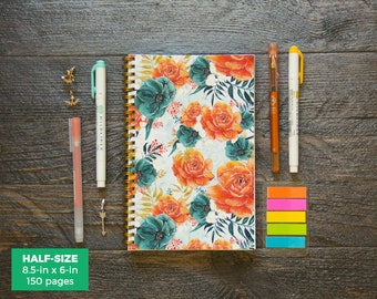 Tropical Florals Planner / Weekly / Half-Size / 12 Months / Choose Your Layout (Vertical or Horizontal) / Pick Your Own Starting Month