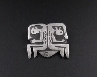 Pewter Tribal Brooch, Petroglyph Brooch, Urban Fetish Style Brooch, Pewter Brooch