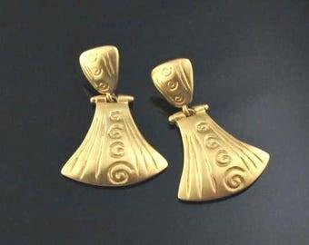 Anne Klein Gold Earrings, Brushed Gold Earrings, Anne Klein Earrings, Statement Earrings, Etruscan Earrings
