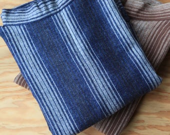 Vintage Ombre Indigo Artist's Smock | Wool Sweater Stripe | Made in Wales | FREE SHIPPING
