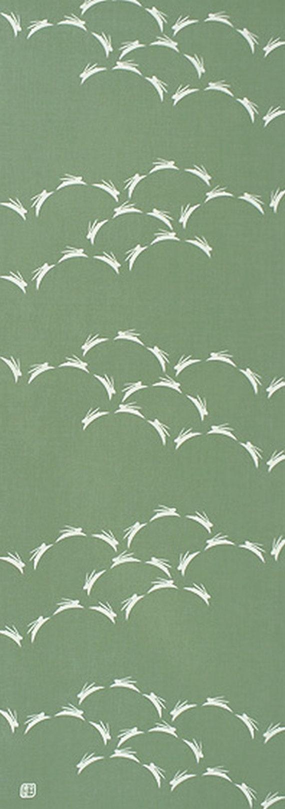 Japanese tenugui towel cotton fabric rabbit design for Modern home decor fabric prints