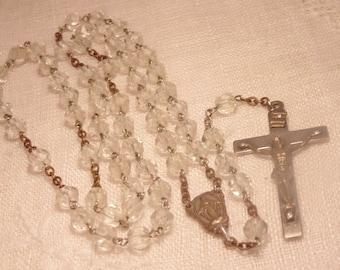 Vintage Crystal Rosary Prayer Rosary Antique Rosary Pray Catholic Vintage Rosary Glass Rosary Bead Rosary Hand Cut Crystal Rosary