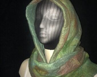 Wet felted merino wool hooded scarf