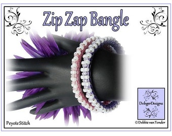 Beading Pattern, Tutorial, Bangle - ZIP ZAP